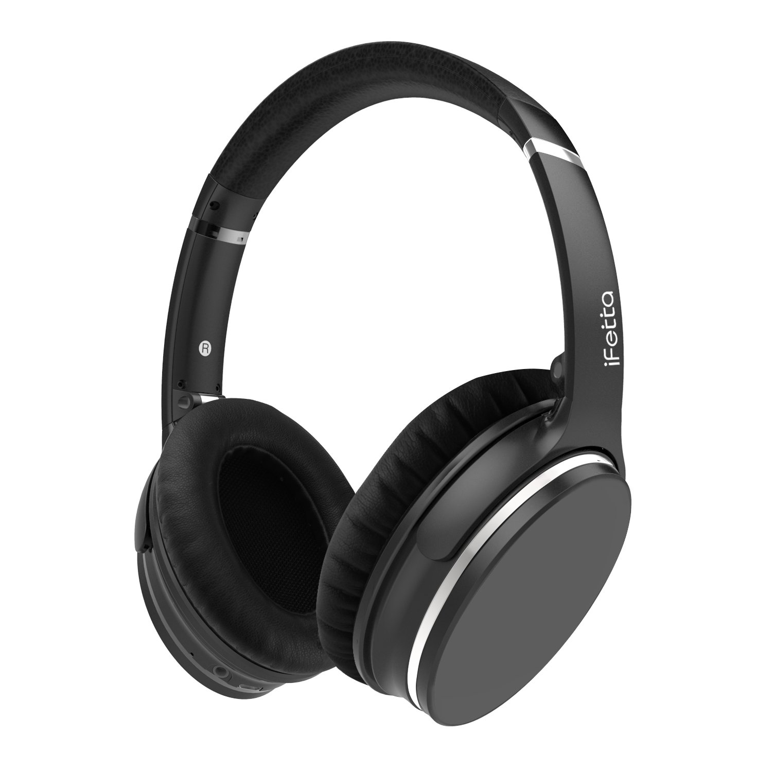 Active Noise Cancelling Headphones, Ifecco Bluetooth HiFi Over-ear Headsets with Mic and Volume Control Support 3.5mm Jack and Bluetooth Devices, Black with case