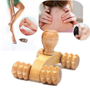 Solid Wood Full-body Four Wheels Wooden Car Roller Relaxing Massage Tool Reflexology Face Hand Foot Back Therapy