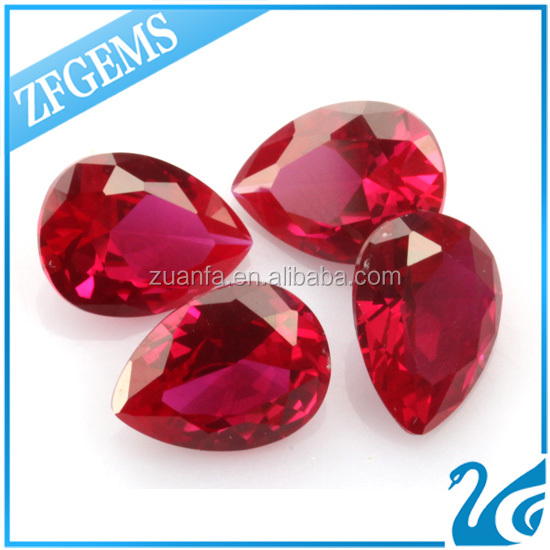 Zuanfa Gems Tear Drop Ruby 8# Synthetic Corundum Beads