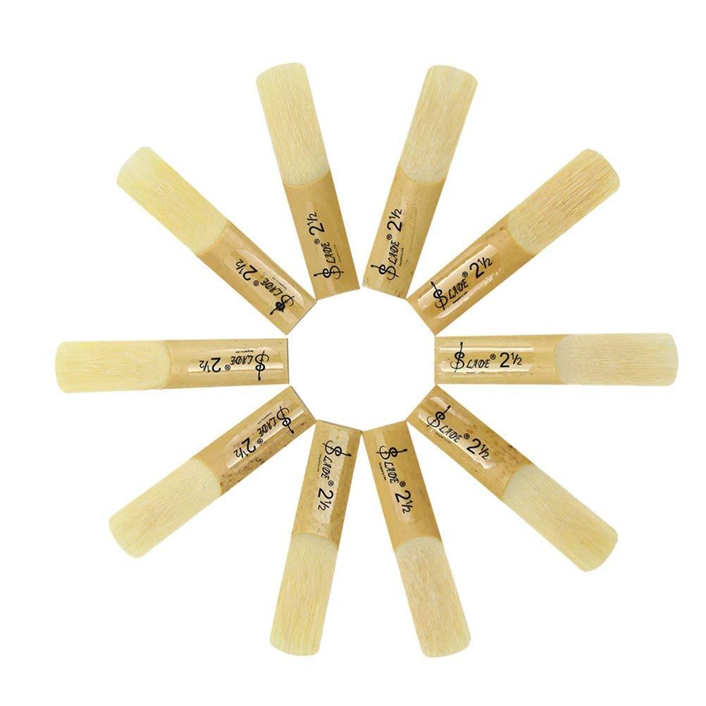 ROSENICE 2.5 2-1/2 Bamboo Reeds Set for Saxophone Sax Accessory Part (Alto) 10pcs
