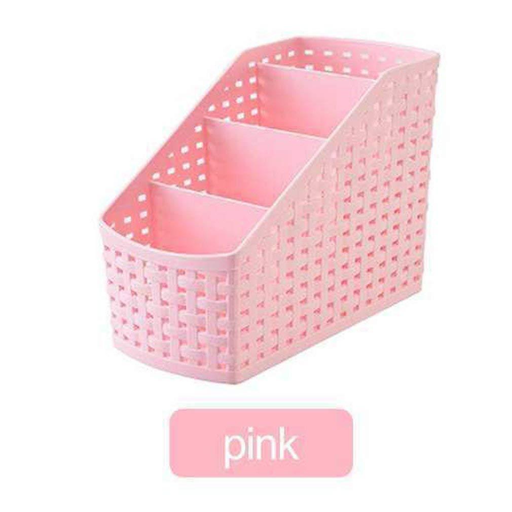 Multifunctional Plastic Desk Organizer Storage Box Case Pen Pencil Holder Imitation Rattan Narrow Type 4-Compartment Pink