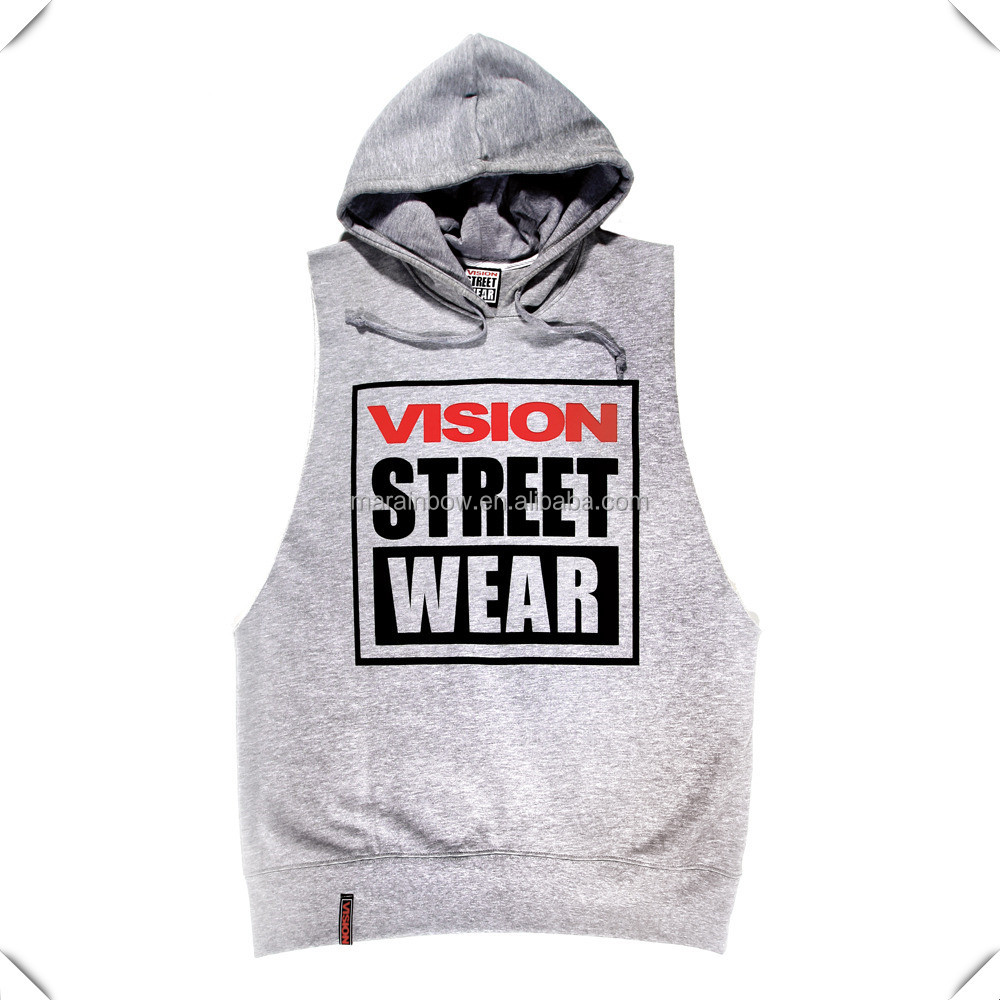 oversized marl Grey100% cotton fleece sleeveless Sweatshirt hoodie hooded pulloverwith printing logo for men streetwear hip hop