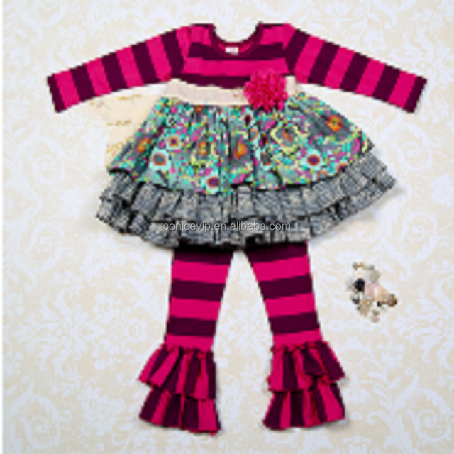 aca07b449 Wholesale newest baby girl boutique clothing long sleeve winter stripes  ruffle boutique outfits