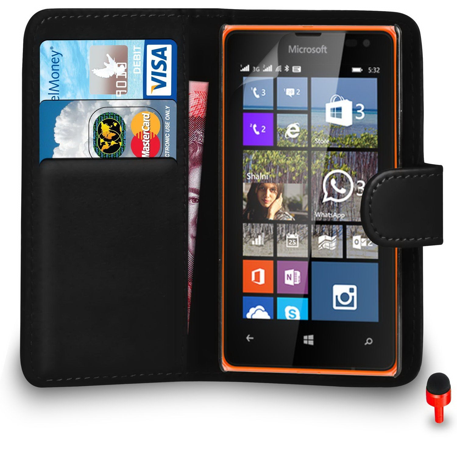 Microsoft Lumia 532 Premium Leather Black Wallet Flip Case Cover PouchRED DS+ Screen Protector & Polishing Cloth SVL0 BY SHUKAN®, (WALLET BLACK)