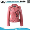 Custom Breathable Womens Pu leather Jackets in Washed