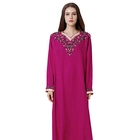Lady Fashion Polyester Embroidered Long Sleeve Sashes Muslim Dress