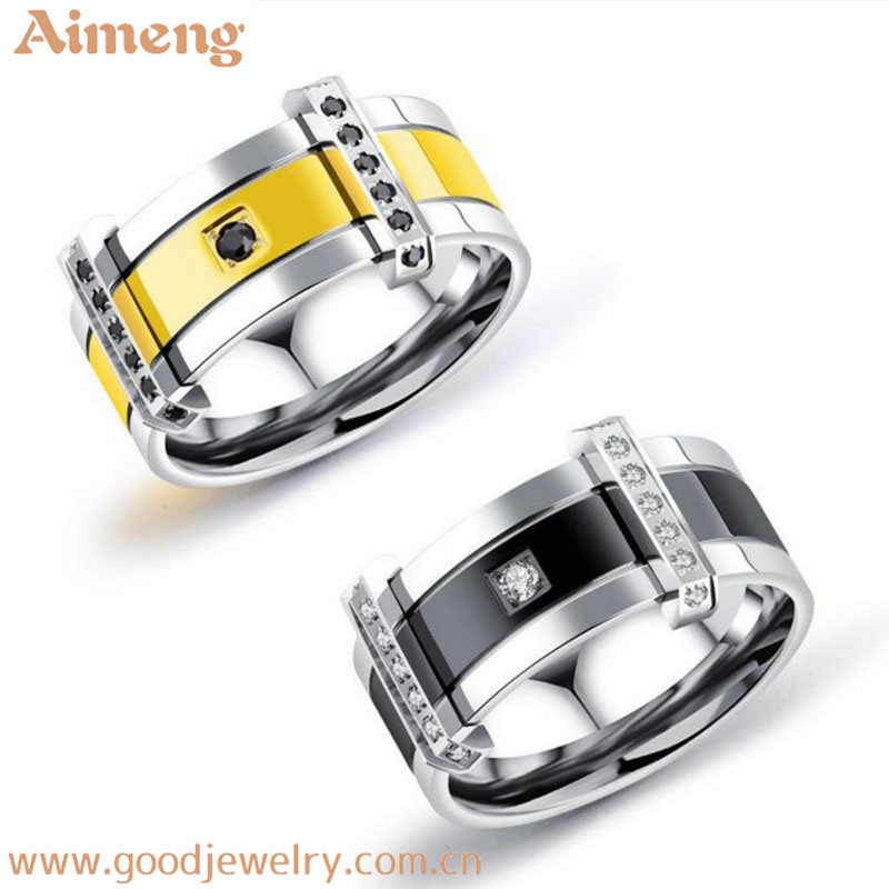 Sell micro inset jewelry wholesale personality of gold men ring titanium steel ring jewely