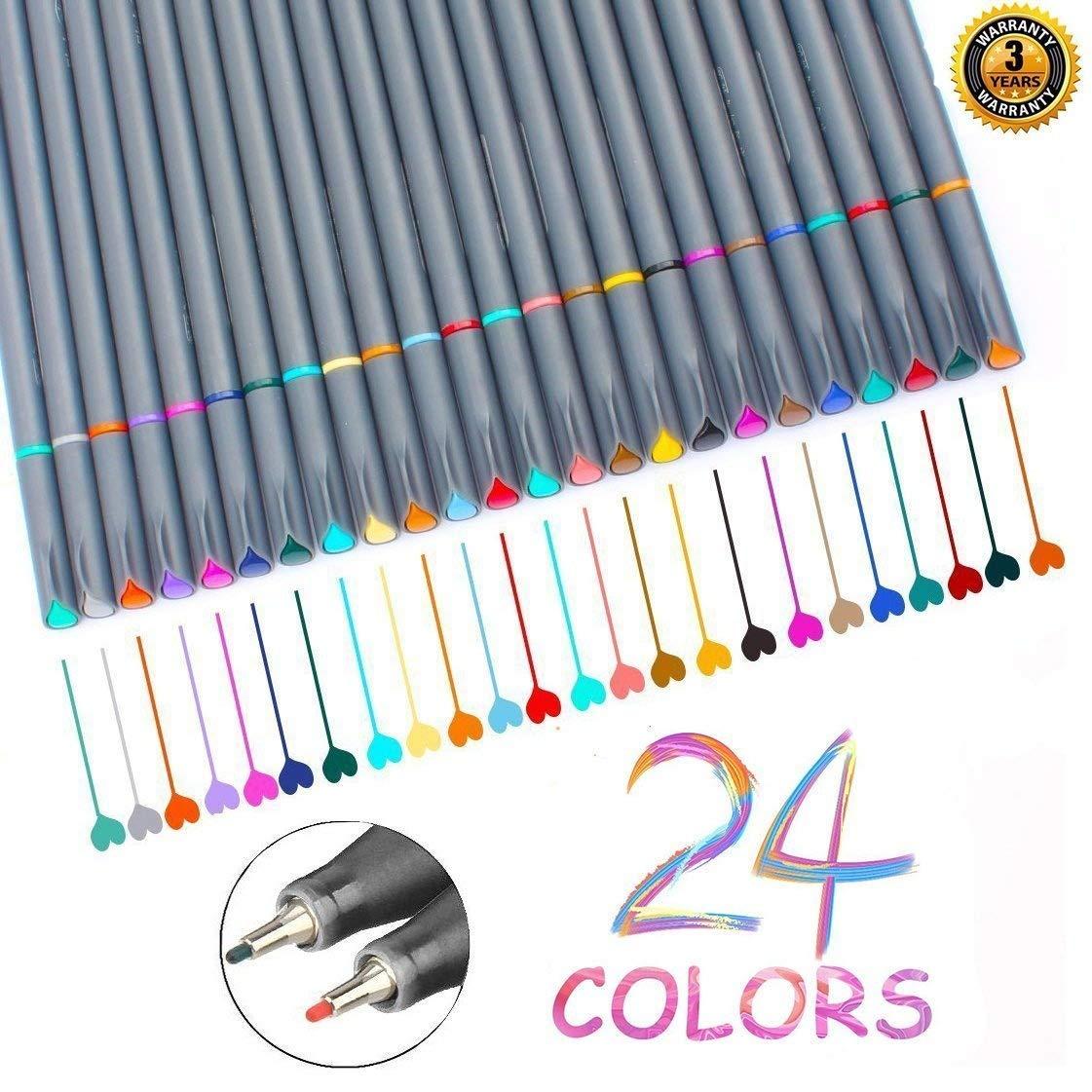 Fineliner Pens, Vonart Fineliner Color Pens 24 Art Pens for Drawing Fine Tip Colored Writing Pens Fine Line Point Marker Pens for Bullet Journal Planner Note Calendar Coloring Art Projects