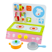 green cooking bench wooden kitchen set for children pretend cooking toys with rotary switch