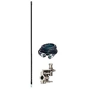Pro Trucker CB Radio 3 Antenna Kit with 750 Watt Flex Antenna Mount and Coax Cable Black
