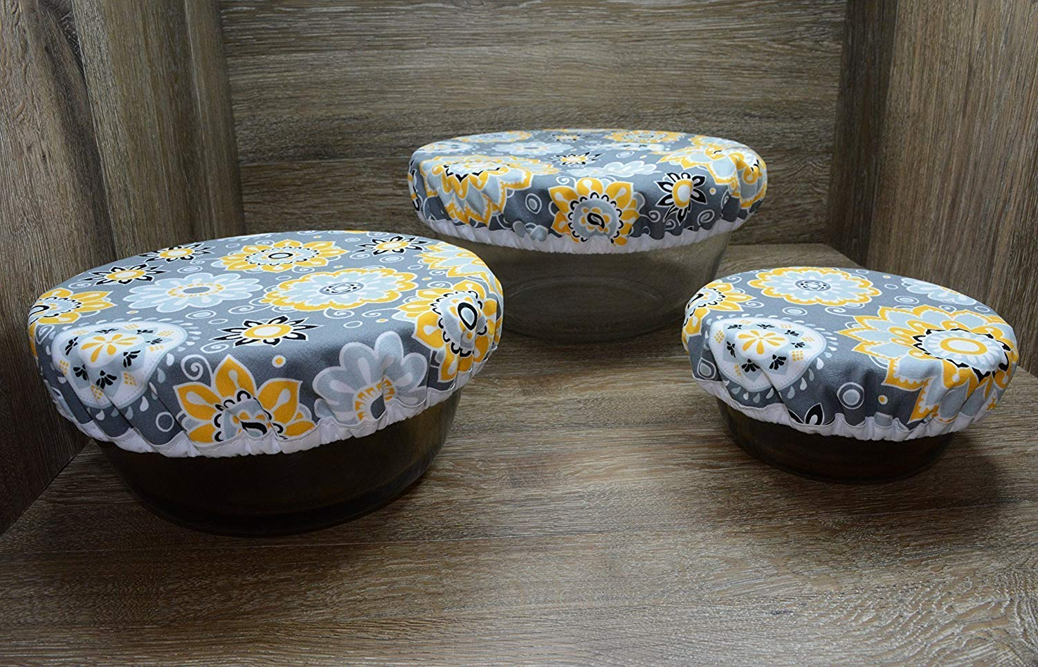 Eco-Friendly//Reusable//Bowl Covers//Set of 3//Sunflower