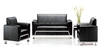 China manufacturer italy black leather office sofa for meeting room(FOH-6677)