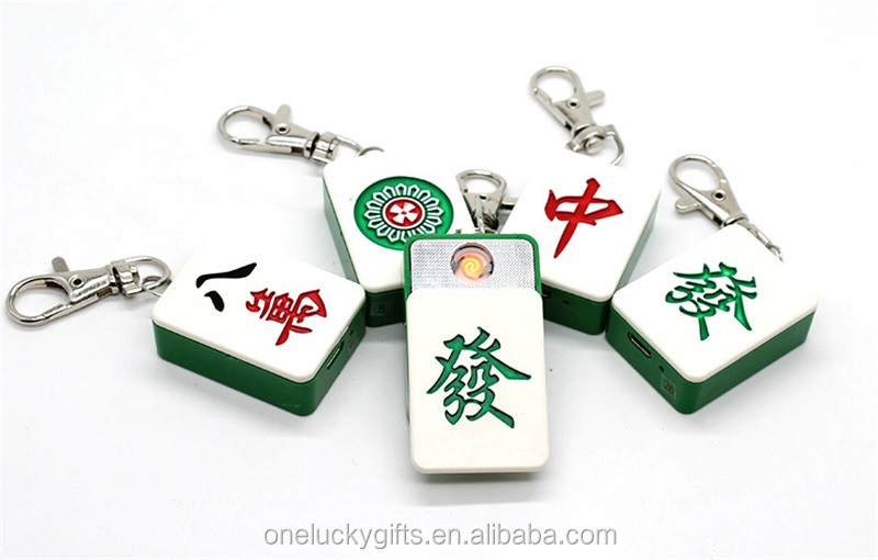 Rechargeable Keychain Promotion Mahjong eletronic lighter for gifts