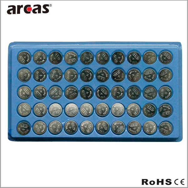 Hot sale 1.5v alkaline button cell battery,50pcs AG cell battery