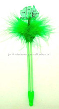 promotional novelty multi function feather pen with led light