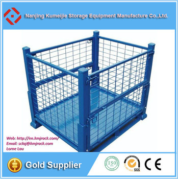 Industrial wire baskets mesh box metal pallet cage for Metal shipping crate