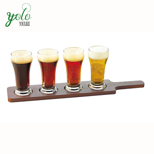 4 cup of wine tasting bamboo flying type beer cup tray