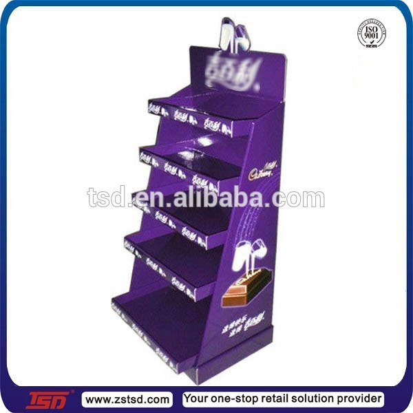 TSD-C411 custom retail stor floor pop cardboard chocolate display stand,biscuit display fixture,cardboard food display stand