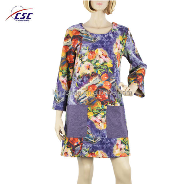 High quality suede fabric printed fashion dresses,dress designers woman dress clothing