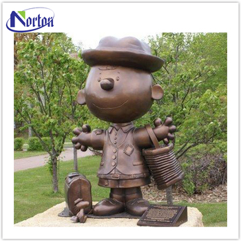 Customized Garden Outdoor Peanuts Famous Charlie And Snoopy Bronze Cartoon Statue NT-BS366B