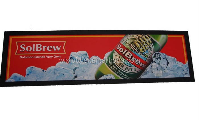 Custom printing soft nitrile rubber logo bar beer spill drip rail mat