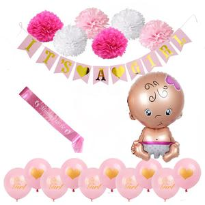 Gender Reveal Accessory Kit with Banners, Balloons, Pom Poms,Sash Decoration Baby Girl Nursery Decor