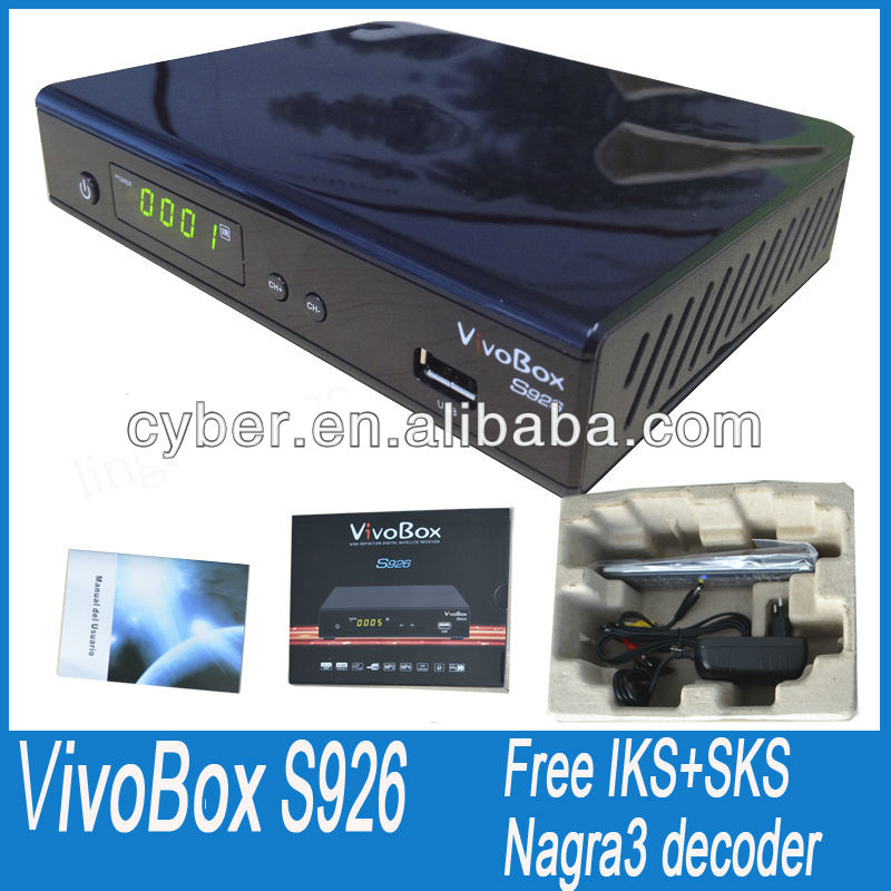 vivobox s926 digital satellite receiver vivo box hd 1080p nagra 3 decoders with free iks/sks twin tuner receptor for Chile