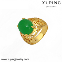 Xuping fashionable jewelry 24k gold plated high quality jade ring