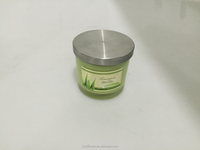 Decorative Vegetable Wax Scented Candles In Jar With Metal Lid