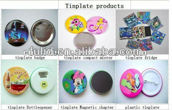 45mm Dia plastic smile face tin badge, smile tin button, smile metal badge