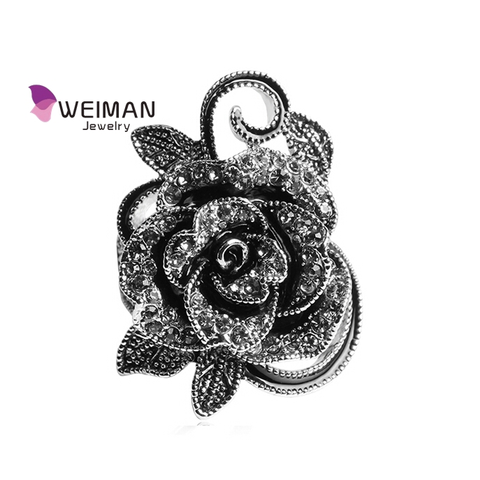 2016 Newest Korean Fashion Retro Elegant Vintage Crystal Jewelry Silver Plated Big Flower Rings For Women