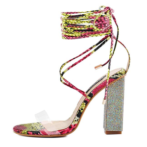 Women Gladiator Ankle Strap Clear Rhinestone Lace up Chunky High Heel snake skin Strappy Sandals