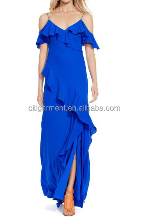 Women's Ruffled Silk Maxi Dress