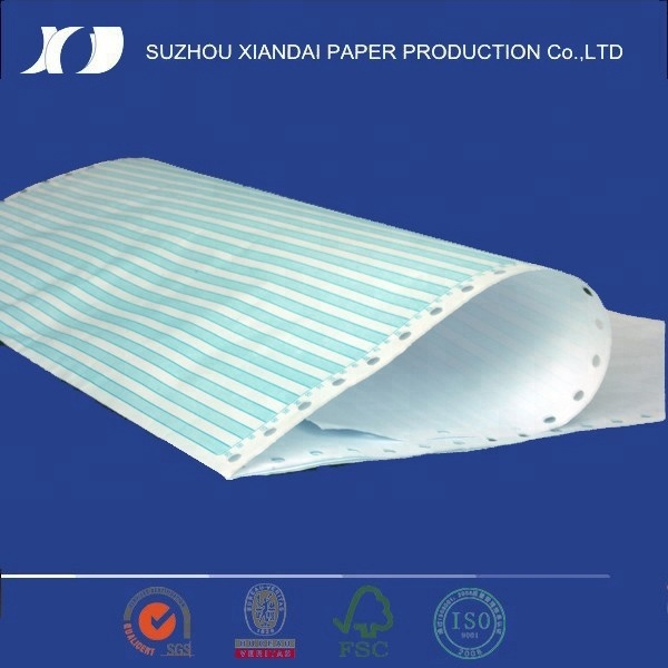 multi-ply colorful carbonless continuous computer paper with holes and cutting line