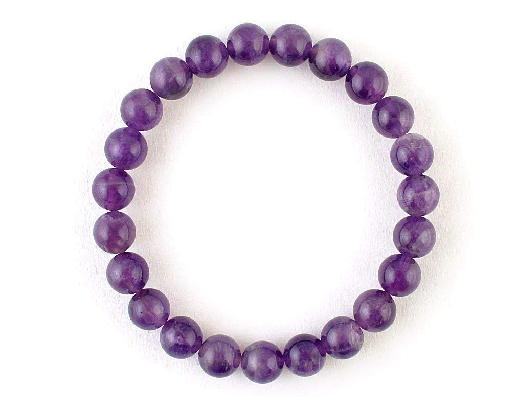 Natural Purple Amethyst bracelet Pisces Birthstone Gemstone February jewelry Mediation Stress relieves 8 mm