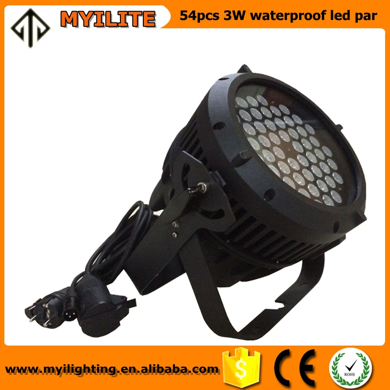 Professional Stage Light Die-cast Aluminum Housing 54 x 3W RGBW LED Par 64 Can Waterproof IP67 for Outdoor Use