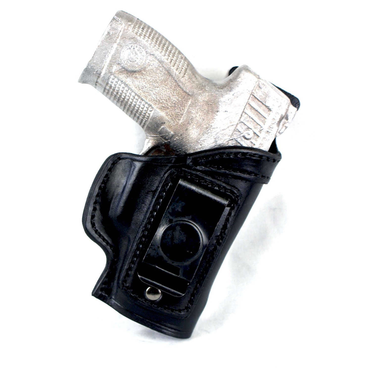 Glock 19 IWB CCW Single Spring Clip Leather Holster with Body Shield R/H Black - 0317