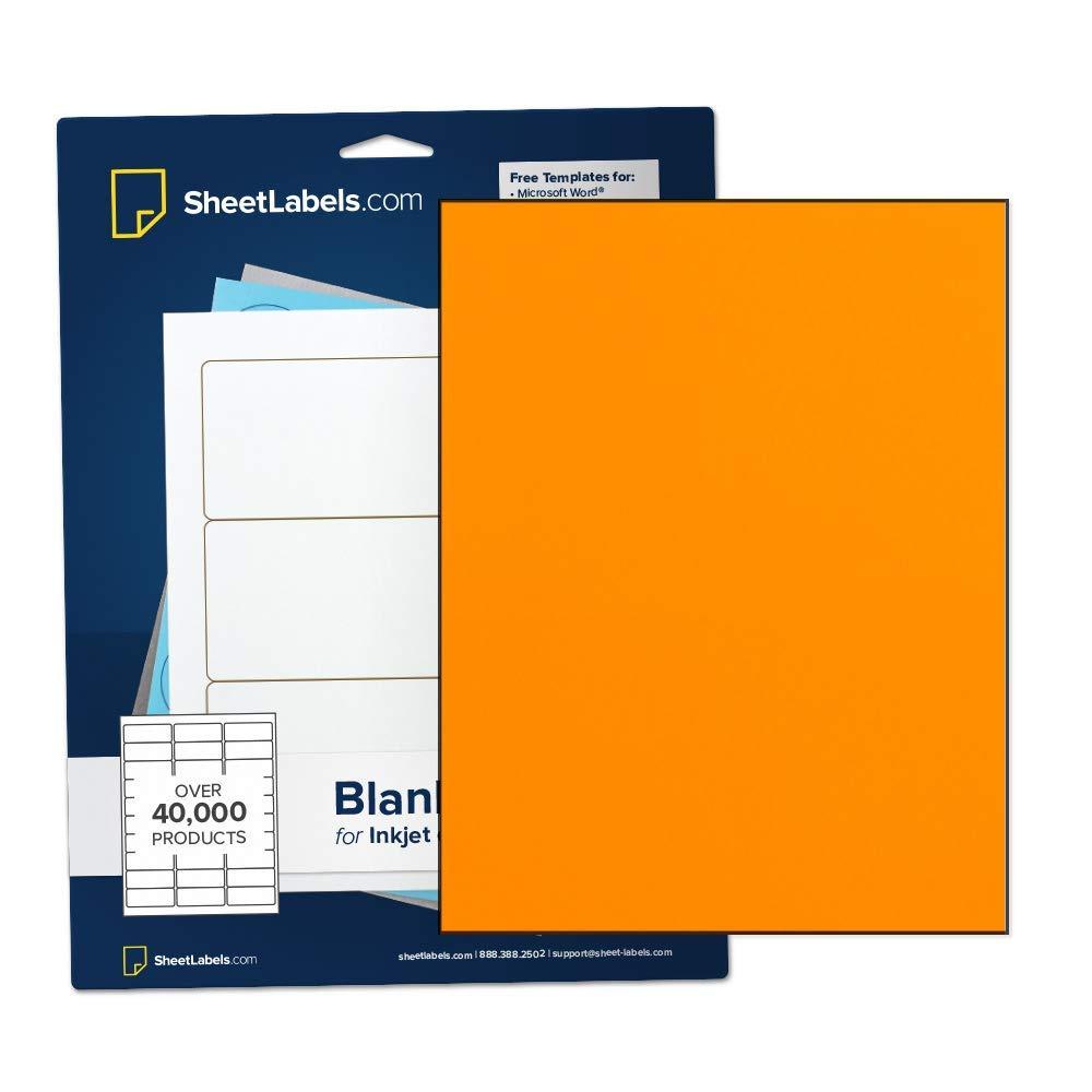 """Fluorescent Orange Sticker Paper, Full-Sheet Labels, All Purpose 8.5"""" x 11"""", Laser or Inkjet Printing, No Back-Slit, 250 Labels"""