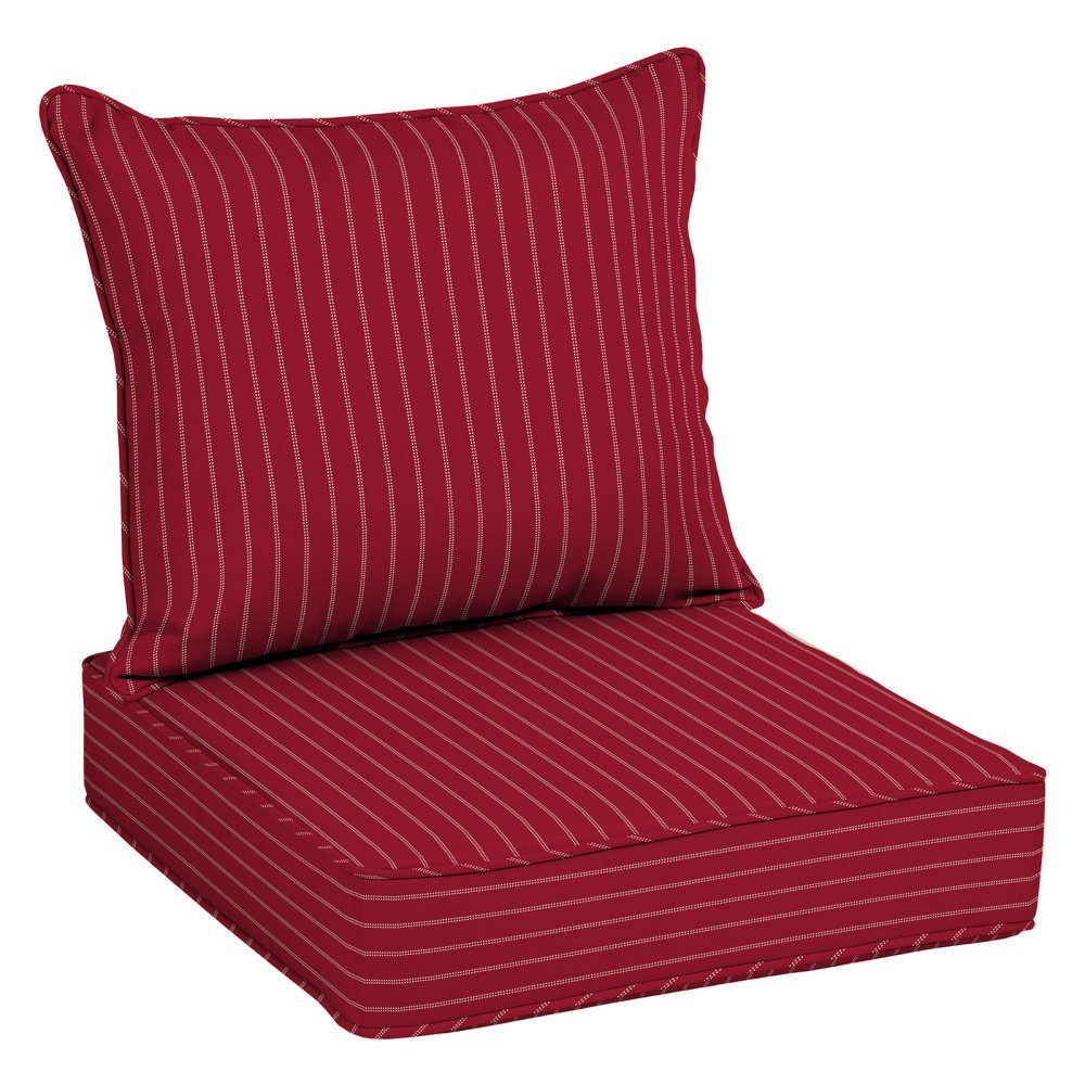 "Home Improvements Red Pinstripe Outdoor Deep Seat Cushion Set Patio Chair Seat Back Back: 21"" L x 25"" W x 7.5"" H Seat: 25"" L x 25"" W x 6"" H in."