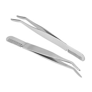 Stainless Steel Eyelash Tweezer with Comb ,Eyelash Applicator