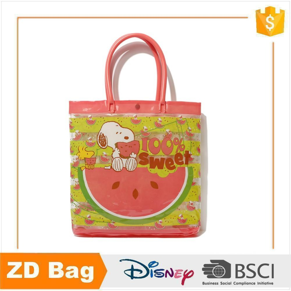 Fashion design snoopy bag waterproof clear pvc tote bag for shopping