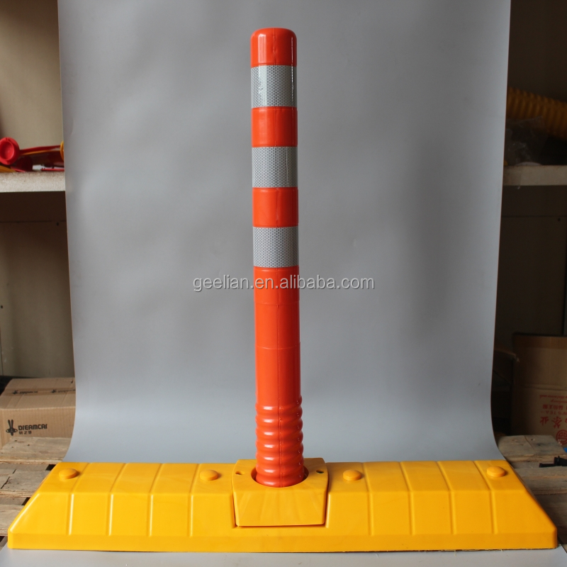 bollard design load flexible rubber bollard spacing reflective road divider