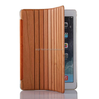 Natural Wood Case For ipad air 2, Stand PU Leather Tablet Case for iPad air 2