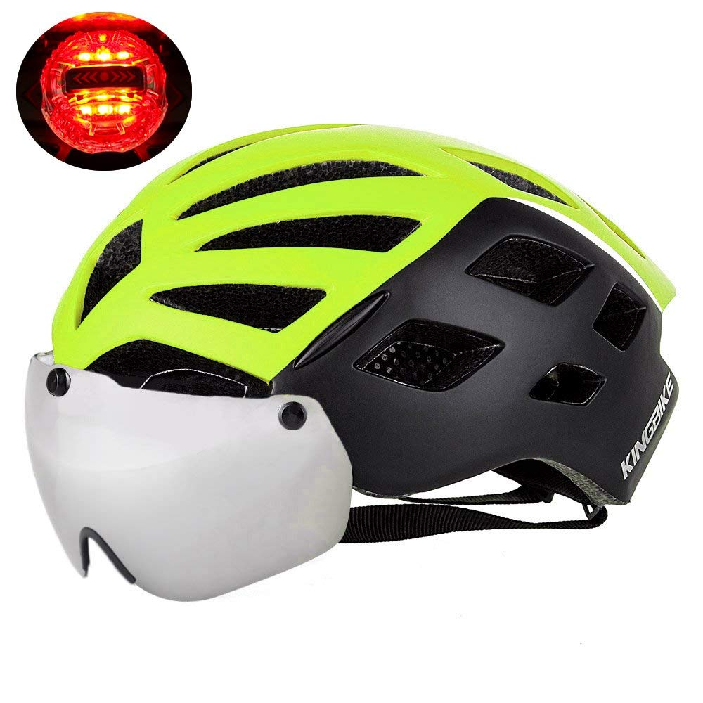 KINGBIKE DOT Bicycle Helmet with Detachable Eye Shield Goggles(100% UV400 Protection,Can Over The Glasses) for Men Women,3 Modes Rear Safety LED Light,26 Air Vents