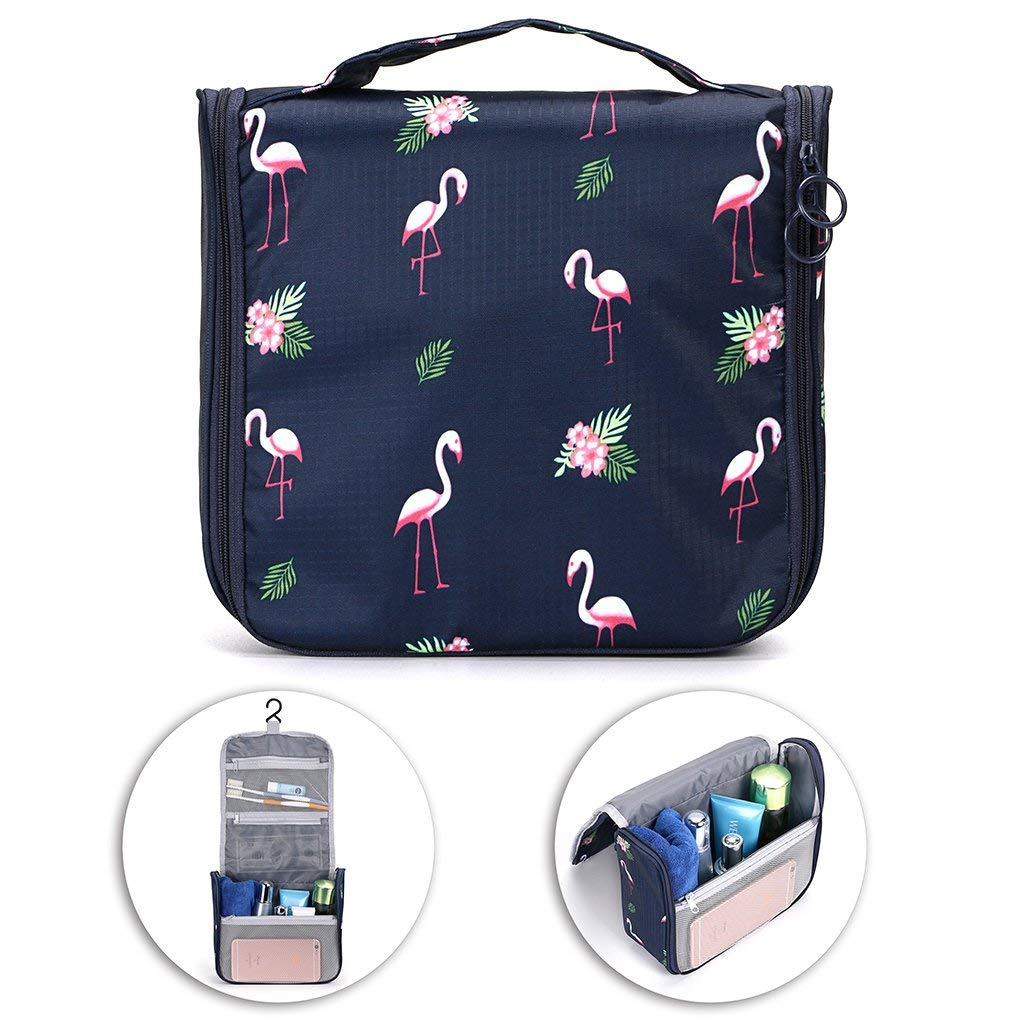 Hipiwe Hanging Travel Toiletry Bag Portable Cosmetic Toiletries Make Up Storage Bag Waterproof Travel Essential Packing Organizer Shower Wash Carrying Case Toiletry Kit Pouch Bag for Women Girls
