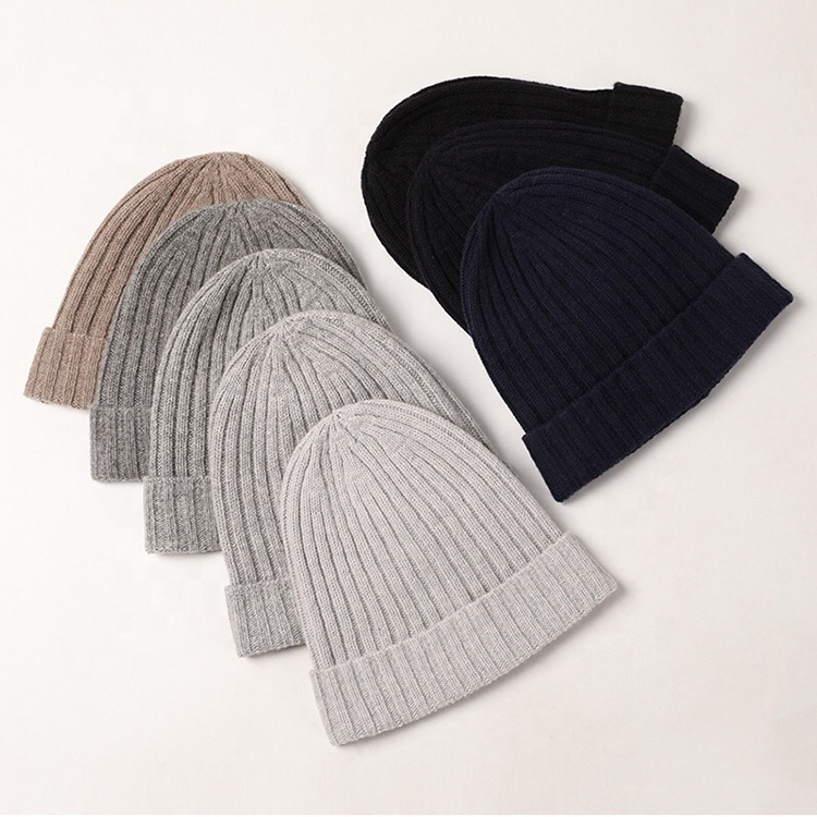 Custom embroidery logo ribbed cable knit 100% pure cashmere beanie hats kids men womens winter wool cashmere beanies hat