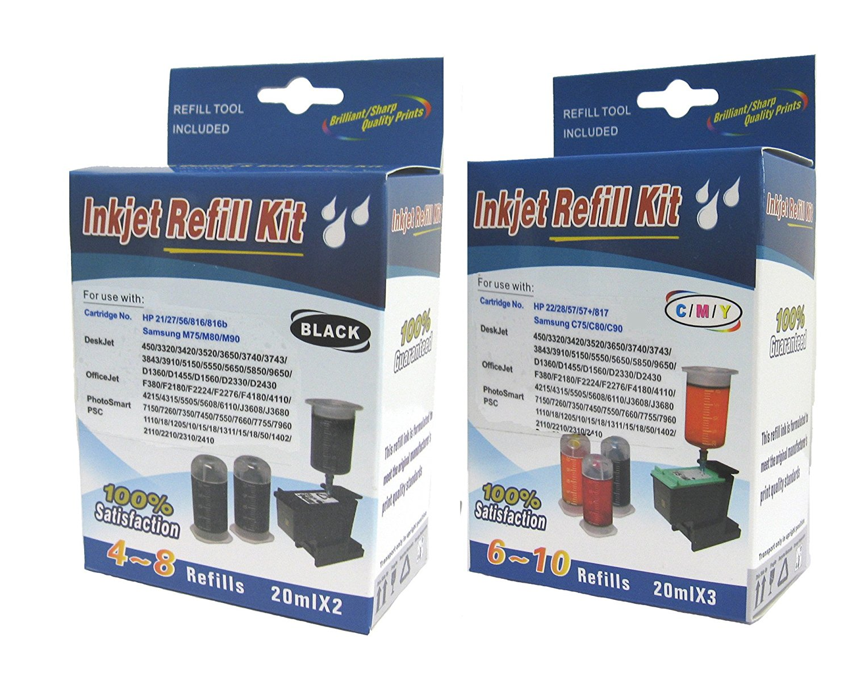 Cartridge refill kit for HP 21/27/56/816, 22/28/57/817 BLACK(PIGMENT) & COLOR(cyan,magenta,yellow) ink cartridge