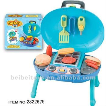 Kitchen Toys Blue Barbecue Toy Set For Kids Bbq