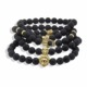 Costume Jewelry 8mm Black Onyx Stone Beads Hamsa Lion Skull Power Band Energy Bracelet