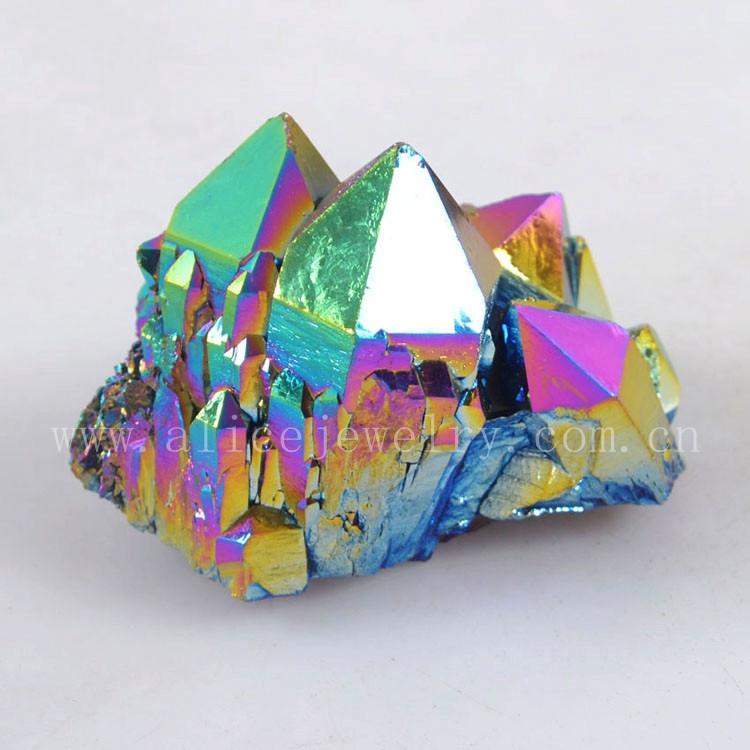 Wholesale Rough Titanium Rainbow Flame Aura Quartz Crystal